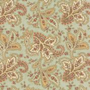 Moda Larkspur by 3 Sisters - 4457 - Gold & Brown Paisley on Duckegg - 44101 14 - Cotton Fabric